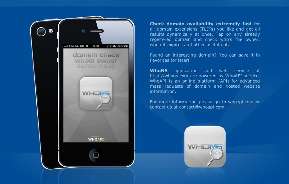 Domain availability iPhone app - WhoNS