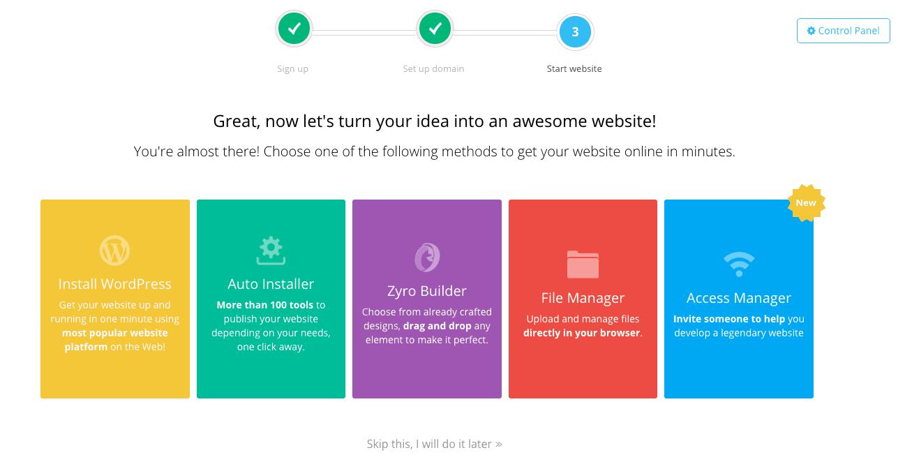 Hostinger review - Easy WordPress installation