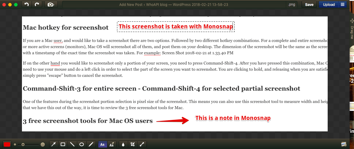 Metaphysical screenshot. Screenshot of a screenshot tool, while taking a screenshot. Screenshot tool Monosnap - dashboard