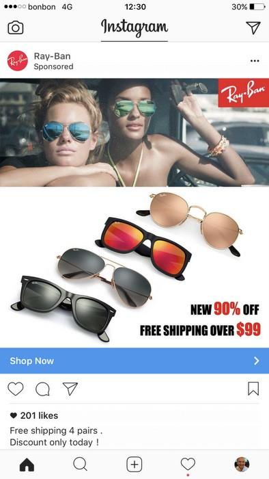 Fake Ray-Ban Instagram ad