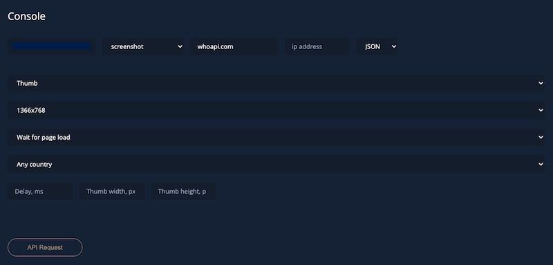 Example of screenshot API request